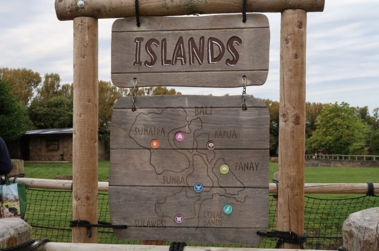 A picture of the Islands sign at Chester Zoo