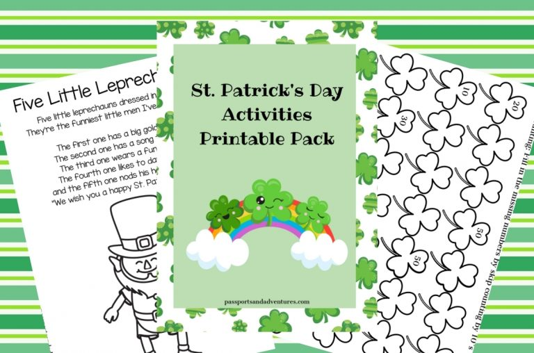 A picture showing pages from a St Patrick's Day Activities for Kids printable pack