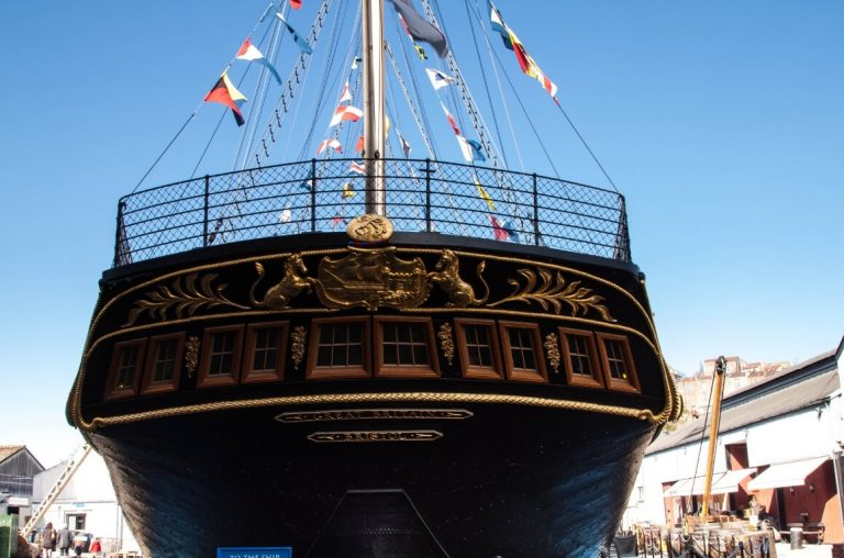 A picture of the aft/back of the ship of SS Great Britain in Bristol