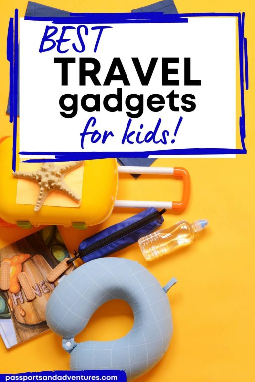 A Pinterest pin with a picture of a kids suitcase and other travel accessories with text overlay saying Best Travel Gadgets for Kids