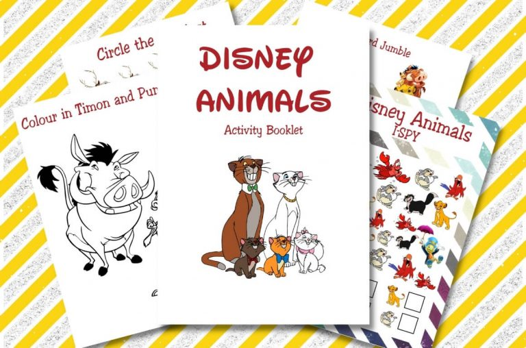 A picture of some sheets from Disney Activity Printables from the Animals theme