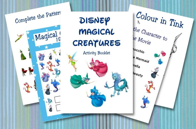 A picture of some sheets from Disney Activity Printables from the Magical Creatures theme