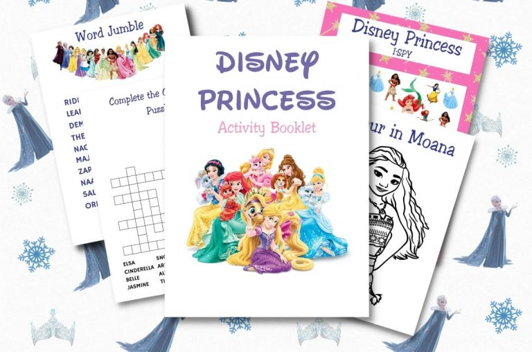 A picture of some sheets from Disney Activity Printables from the Princess theme