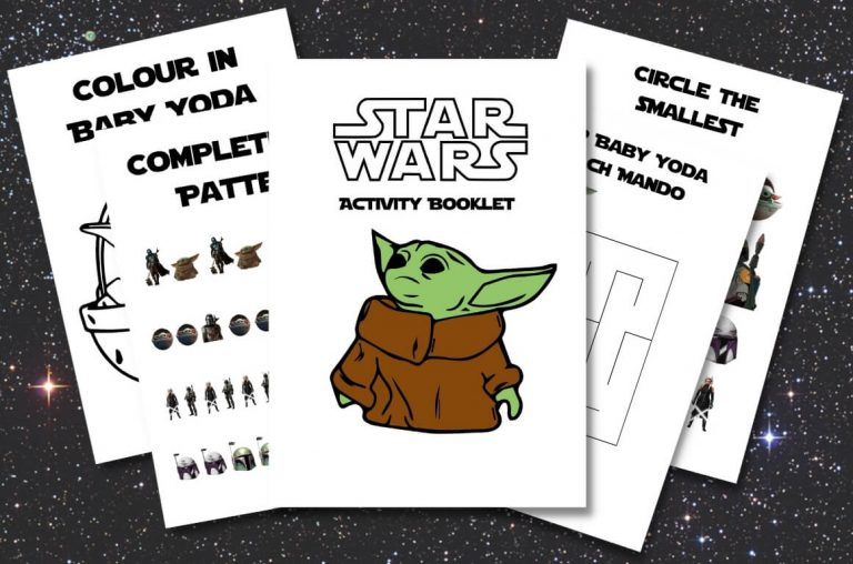 A picture of some sheets from Disney Activity Printables from the Star Wars Mandalorian theme