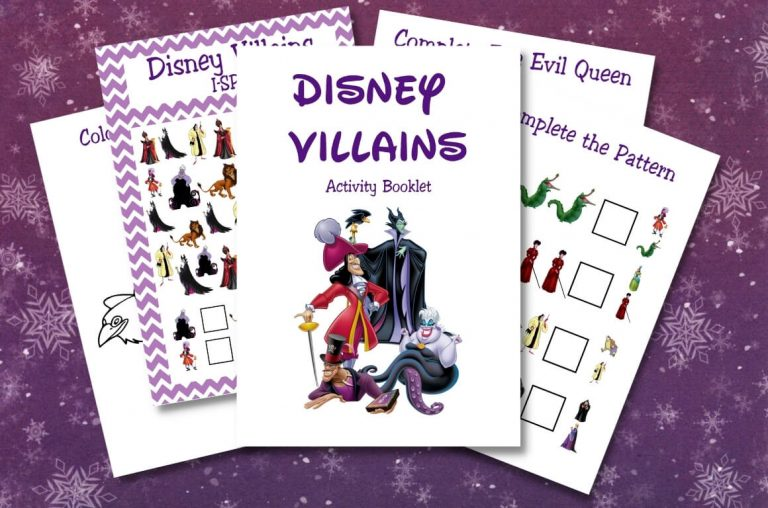 A picture of some sheets from Disney Activity Printables from the Villains theme